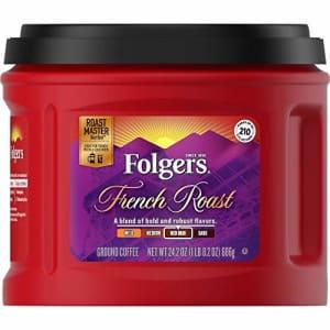 Folgers French Roast Medium Dark Roast Ground Coffee, 24.2 Ounces for $7