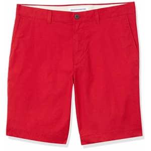 "Amazon Essentials Men's Slim-Fit Lightweight Stretch 9"" Short Shorts, -Red, 36 for $20"