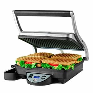Ovente Electric Countertop Panini Press Grill with Double Nonstick Flat Cast Iron Cooking Plates, 4 for $54
