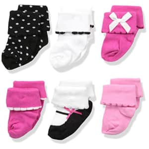 Luvable Friends Unisex Baby Newborn and Baby Socks Set, Pink Black, 0-6 Months for $11