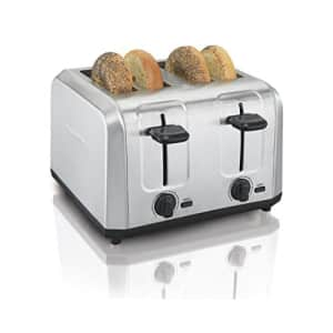 Hamilton Beach Brushed Stainless Steel 4 Slice Extra Wide Toaster with Shade Selector, Toast Boost, for $46