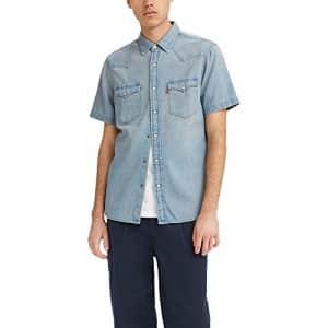 Levi's Men's Shorts Sleeve Classic Western Shirt, Light Wash - Light Indigo, Large for $50