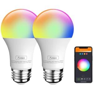 Amico 9-Watt 60W Equivalent LED Smart Light Bulb 2-Pack for $10