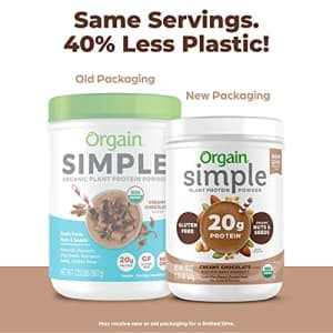 Orgain Simple Organic Plant Protein Powder, Chocolate, Vegan, Made with Fewer Ingredients and for $35