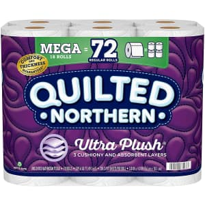Quilted Northern Ultra Plush Toilet Paper 18 Mega Roll Pack for $15