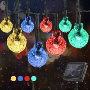 Ybfuu 39.4-Ft. Solar LED Crystal Globe String Lights for $11