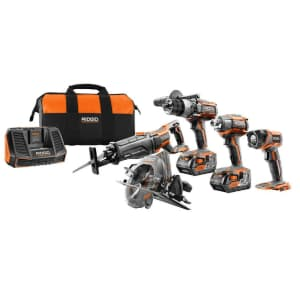 Ridgid Gen5X 18V Li-ion Cordless 5-Tool Combo Kit for $444