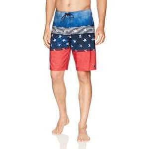 O'NEILL Men's 20 Inch Outseam Hyperfreak Stretch Swim Boardshort, Red White Blue, 44 for $60