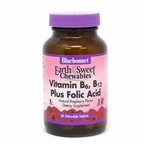 Bluebonnet Nutrition Earth Sweet Vitamin B6, B12, Plus Folic Acid Chewable Tablets, Vegan, for $13