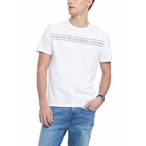 Tommy Hilfiger Men's Short Sleeve Graphic T Shirt, White Bright, X-Large for $21