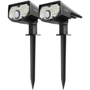 Litom LED Solar Motion Sensor Spotlights 2-Pack for $34