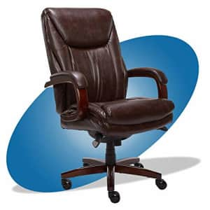 La-Z-Boy Edmonton Big and Tall Executive Office Chair with Comfort Core Cushions, Solid Wood Arms for $578