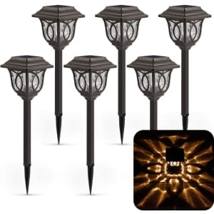 Xmcosy+ Solar Pathway Light 6-Pack for $60