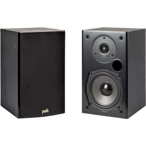 Polk T15 100 Watt Home Theater Bookshelf Speaker Pair for $79