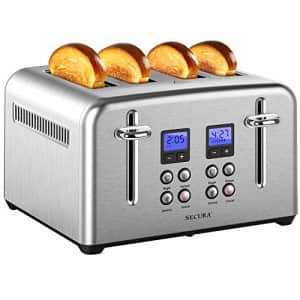 Secura Toaster 4 Slice Stainless Steel Extra Wide Slots for Bagel Bread with Defrost Reheat for $57