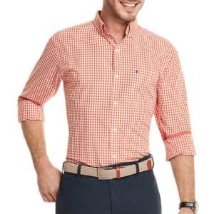 Izod Men's Advantage Performance Gingham Button-Up Shirt for $18