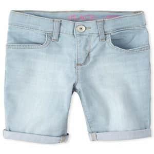 The Children's Place Girls' Denim Skimmer Shorts, ICE WASH, 8 for $10