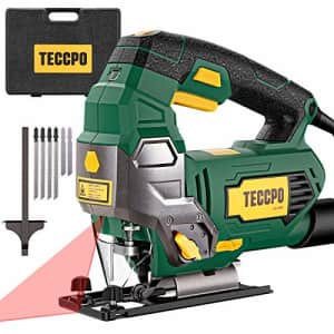 TECCPO 6.5Amp Jigsaw, 3000 SPM Jig saw with Laser, 6 Variable Speed, Tool-free Switching Angle(45), for $80