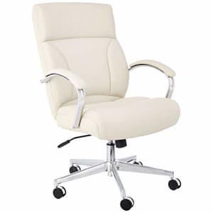 Amazon Basics Modern Executive Chair, 275lb Capacity with Oversized Seat Cushion, Ivory Bonded for $191