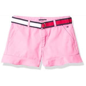Tommy Hilfiger Girls' Solid Belted Shorts, Carnation Pink Ruffle, 14 for $25