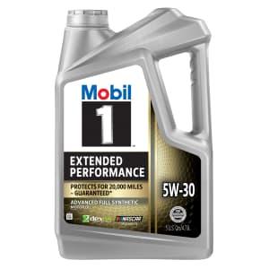 Mobil 1 5W-30 Extended Performance Full Synthetic Motor Oil 5-Quart Bottle for $9.37 after rebate