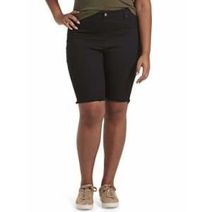 HUE Women's Ultra Soft Denim High Rise Bermuda Shorts, Black, M for $22