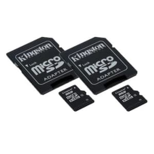Transcend Motorola Droid X MB810 Cell Phone Memory Card 2 x 8GB microSDHC Memory Card with SD Adapter (2 Pack) for $23