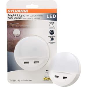 Sylvania LED Night Light with Dual USB Ports for $10