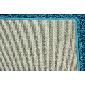 Unique Loom Solo Solid Shag Collection Modern Plush Turquoise Runner Rug (2' 6 x 10' 0) for $34