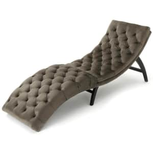 Noble House Garret Tufted Velvet Curved Chaise Lounge for $173