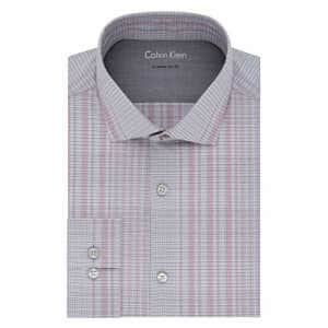 """Calvin Klein Men's Dress Shirt Xtreme Slim Fit Thermal Stretch Check, Red Multi, 18""""-18.5"""" Neck for $43"""