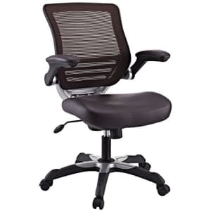Modway Edge Mesh Back and White Vegan Leather Seat Office Chair With Flip-Up Arms-Computer Desks in for $198