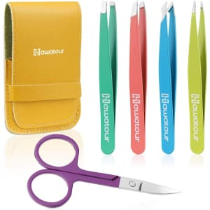 Hawatour 5-Pc. Eyebrow Tweezer Kit for $7