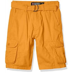 Southpole - Kids Boys' Big Belted Ripstop Basic Cargo Shorts, Timberland As, 12 for $15