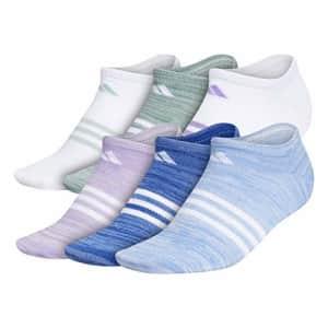 adidas Superlite No Show Socks (6-Pair),Sky Tint Blue - Real Blue Space Dye Team Royal Blue -,M for $20