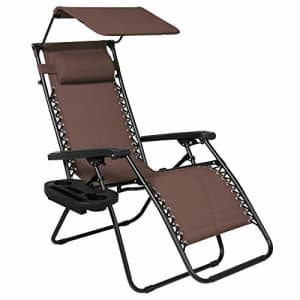 Best Choice Products Folding Zero Gravity Outdoor Recliner Patio Lounge Chair w/Adjustable Canopy for $130
