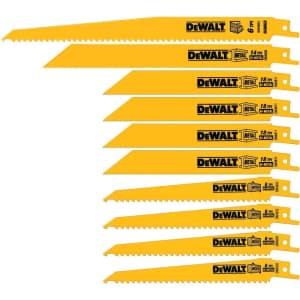 DeWalt 10-Piece Reciprocating Saw Blade Set for $35