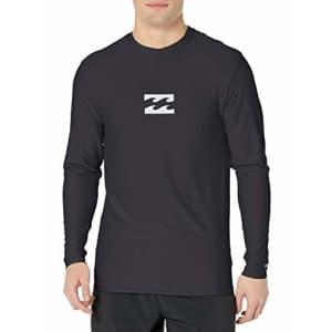 Billabong Men's Loose Fit Long Sleeve Rashguard Surf Shirt, Black All Day LS, L for $33
