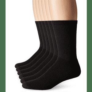 Hanes Men's FreshIQ Odor Control X-Temp Comfort Cool Crew Socks 6-Pack for $5