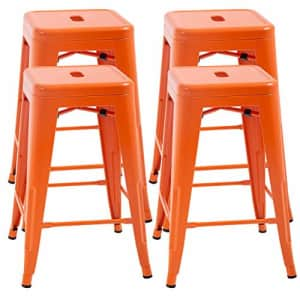 FDW Metal Bar Stools Set of 4 Counter Height Barstool Stackable Barstools 24 Inch 30 Inch Indoor for $122