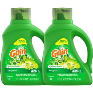 Gain Laundry Detergent Liquid Plus Aroma Boost 75-oz. Bottle 2-Pack for $11 via Sub & Save