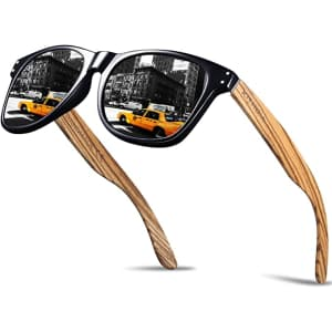 Kithdia Polarized Sunglasses with Bamboo Temples for $22