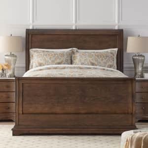 Home Decorators Collection Colton Oak Veneer Queen Sleigh Bed for $475