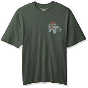 G.H. Bass & Co. Men's Big Short Sleeve Graphic Print T-Shirt, Jungle Green Heather, Large Tall for $14