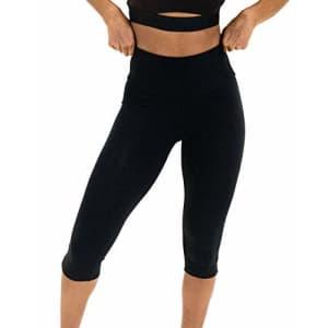 "Spalding Women's Activewear Cotton Spandex 17"" Inseam Capri Leggings, Black, M for $24"