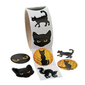 Fun Express Black Cat Halloween Stickers - 1 roll of 100 Stickers - Party Supplies and Giveaways for $15
