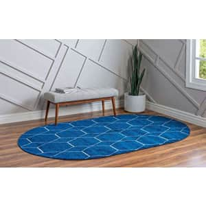 Unique Loom Trellis Frieze Collection Lattice Moroccan Geometric Modern Oval Rug, 3 x 5 Feet, Navy for $51