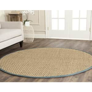 Safavieh Natural Fiber Collection NF114M Border Basketweave Seagrass Area Rug, 6' x 6' Round, Light for $116