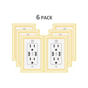 Powrui USB Duplex Wall Outlet 6-Pack w/ Night Light for $50