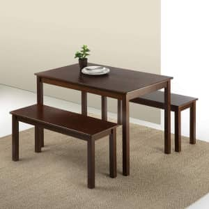 Zinus Juliet Wood Dining Table with Two Benches for $166